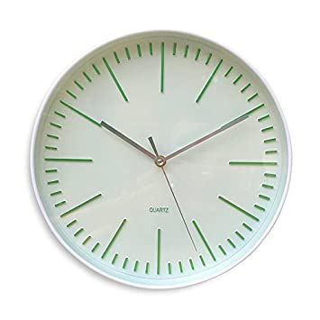 3.17 Over 1 Ft Diameter WHW Whole House Worlds Modernist Wall Clock with A Pop of Green Analog White Wall Clock Quartz Movement Requires 1 AA Battery Not Included