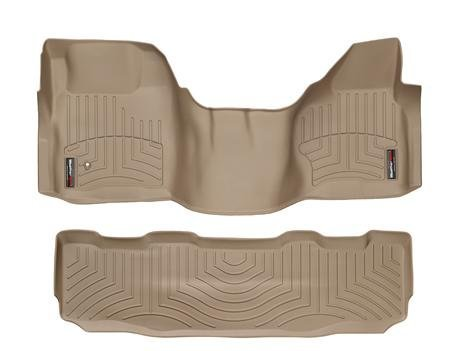 2008-2010 Ford Super Duty (F-250/F-350/F-450/F-550) SuperCrew Tan Weathertech Floor Liner (Full Set: 1st & 2nd Row) [Over the Hump]