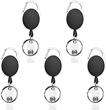 5//10PCS Round Clip Retractable Reel ID Badge Holder Key Chain Reels With Metal