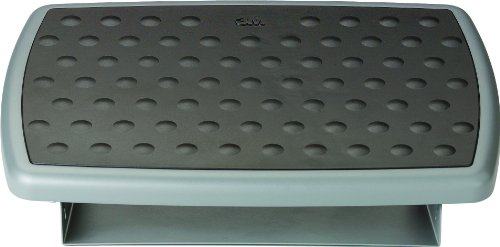 "3M Foot Rest, Height and Tilt Adjustable, Contoured 18"" Wide Non-Skid Platform with Soft Bumps to Massage and Soothe Feet, Heavy-Duty Steel Base, Charcoal Gray, (FR330)"