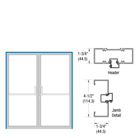 CRL-U.S. Aluminum Custom Sized Clear Anodized Series 450 Open Back Butt Hinge Up and Over Double Door Frame