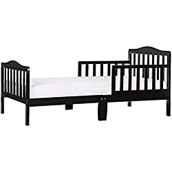 """Dream On Me Classic Toddler Bed in Black with 2-in-1 Breathable Twilight 5"""" Spring Coil Crib and Toddler Bed Mattress with Reversible Design, White/Brown"""
