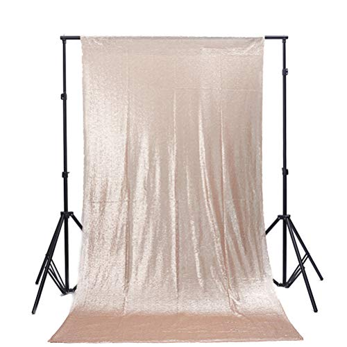 TRLYC 4Ft7Ft Champagne Sequin Wedding Backdrop Sparkly Photography Backdrop for Wedding]()