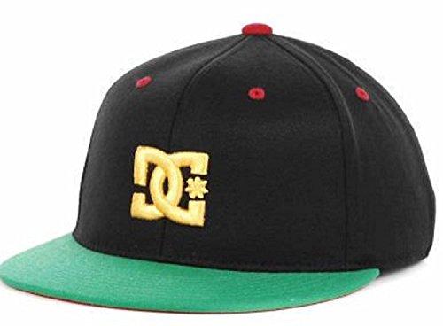 DC Shoes Basebro Black/Yellow/Green Flat Brim Flexfit Hat Cap Small/Medium