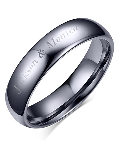 Personalized Wedding Band Ring (Free Engraving-Personalized His Hers Domed Plain Simple Tungsten Carbide Wedding Promise Engagement Ring Bands,4mm)