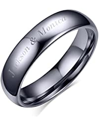 Free Engraving-Personalized His Hers Domed Plain Simple Tungsten Carbide Wedding Promise Engagement Ring Bands