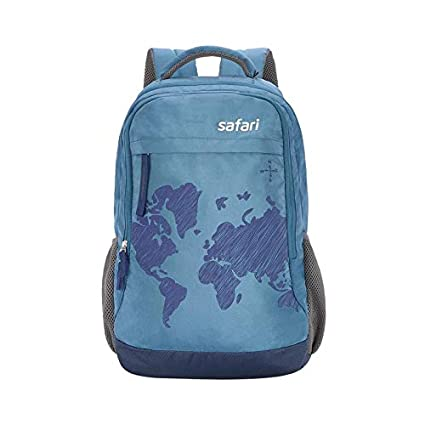 e29d1e0c20 Safari Polyester 35 Ltrs Blue Laptop Backpack (WorldMap)  Amazon.in  Bags