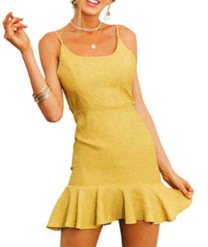Linen Strap Domple Mini Casual Women's Spaghetti Cotton Yellow Backless Ruffles Dress Xrq8ftwrg4