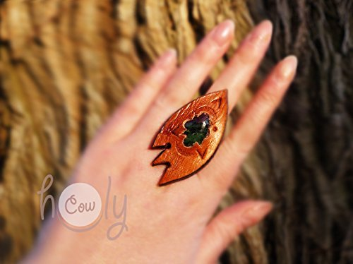 Handmade adjustable leather ring with an amazing chakra healing ruby in zoisite gemstone
