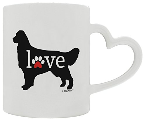 t Love Dog Paw Prints Dog Owner Gifts Lab Dog Lover Heart Handle Gift Coffee Mug Tea Cup Heart Handle (Golden Lab Retriever)