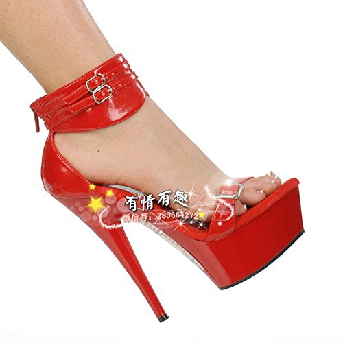 Braut rot schuhe hochzeit schuhe rot Braut meine gürtelschnalle Sandale 15 zentimeter hochhackigen schuh dicke hintern schuhe  des 8af315