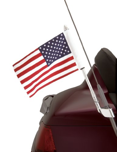 Show Chrome Accessories 52-713 Antenna Mount USA Flag Pole Kit (Motorcycle Antenna Mount)