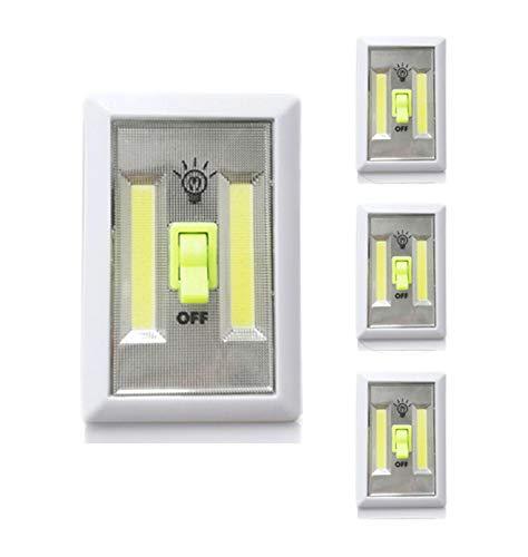 [New Version] TOMOL Super Bright COB LED Cordless Switch Light, Glow in Dark Switch,Tap Light, Battery Operated LED Night lights, Under Cabinet, Shelf, Closet, Nightlight Kitchen RV 4-pack -