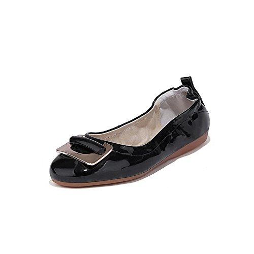 AllhqFashion Mujer Charol Pu Tacón Bajo Puntera Redonda Puntera Cerrada ZapatosDeTacón Negro