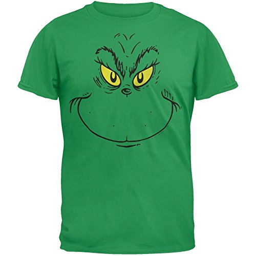 Big Grinch Face Green Adult T-shirt Tee Large ()