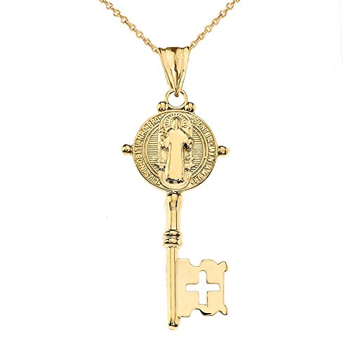Fine 10k Yellow Gold Saint Benedict Reversible Cross Key Pendant Necklace, 16