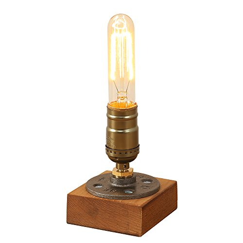 - INJUICY Vintage Wooden Table Lamps, Wood & Metal Iron Base Desk Lamp for Bedside, Bedroom Living, Dining Room, Cafe Bar, Hallway Decor