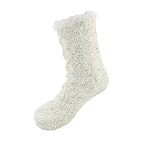 Extra Thick Soft Warm Cozy Fuzzy Thermal Cabin Fleece-lined Knitted Non-skid Crew Socks ,Women XL (US 10-13),Thermal - Color 12d