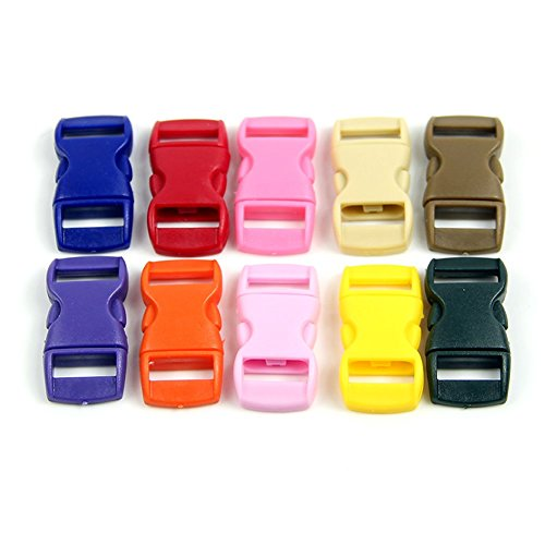 Feamos 10Pcs Curved Side Release Plastic Buckles for Umbrella Paracord Colored Bracelet DIY (Colored Buckle)
