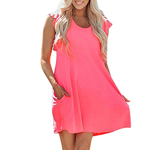Mnyyycxen Women's Ruffle Trim Sleeve Summer Beach A Line Loose Swing Dress with Pocket Watermelon Red