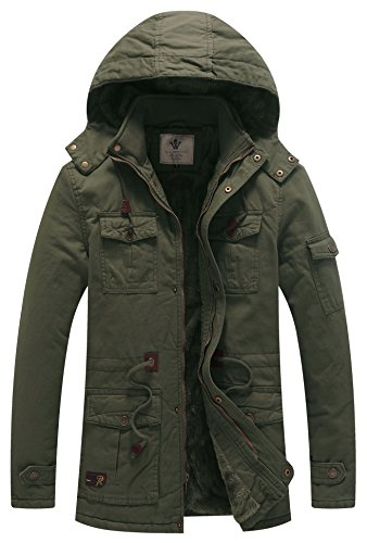 WenVen Men's Thicken Cotton Parka Jacket with Removable Hood B-Army Green XL ()