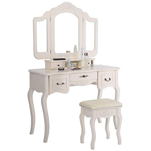 Polar Aurora Tri Folding Vintage Beige Mirror Makeup Dressing Table Cushioned Stool 5 Drawers