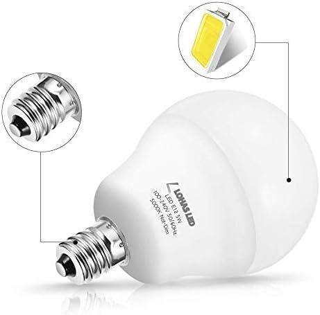 E12 LED-Glühlampen A15 Candelabra Basis 40W-60W Equivalent Kugel-Birne G14 5W Tageslicht-Weiß 5000K 600 Lamp 4Pack