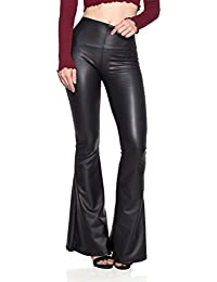 Women's J2 Love Faux Leather Bell Botom Flare Pants