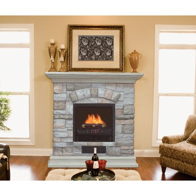 Electric Fireplace with Mantel and Multicolor Stone FacadefromNorthern Tool and Equipment