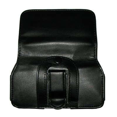 Executive Black Horizontal Leather Side Case Pouch with Belt Clip and Belt Loops for AT&T Apple iPhone 4 [Accessory Export Brand Packaging]