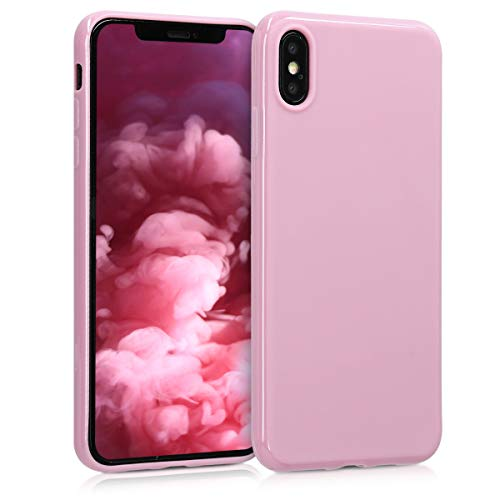- kwmobile TPU Silicone Case for Apple iPhone Xs Max - Soft Flexible Shock Absorbent Protective Phone Cover - Light Pink Matte