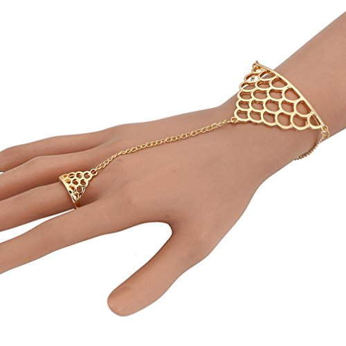 Pearl Fish Cultured Bracelets (Sinwo Womens Personalized Squamous Fish Scale Finger Ring Link Chain Bracelet Bangle Fashion Punk (Gold))