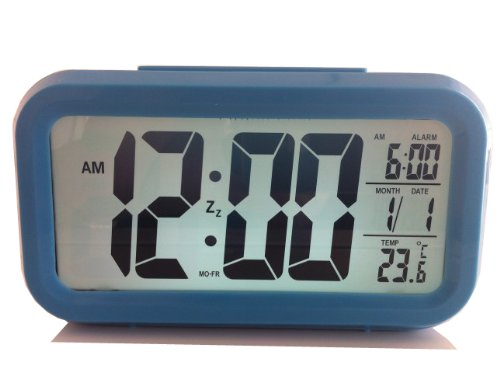 ANOKE Smart Alarm Clock / Date and Temperature Display, Mute, Repeating Snooze, Child Old people,Light-activated Sensor Light and -workdays alarm clock (With workdays alarm clock, Blue)