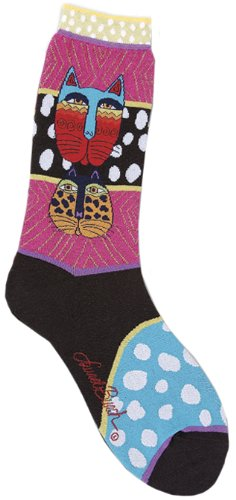 Laurel Burch Women's Single Pack Cat Design Crew Socks, Celestial Cat, 9-11