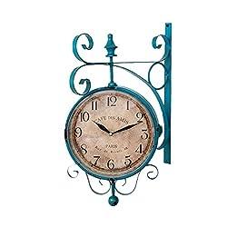 WEEDAY American Mediterranean metal wall clock large personality double-sided digital quartz clock retro home bedroom living room corridor mute clock -by TIANTA