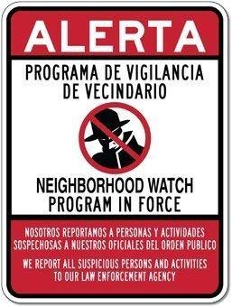Bilingual Neighborhood Watch Retro Vintage Custom Metal Tin Sign Home House Coffee Beer Drink Bar ()