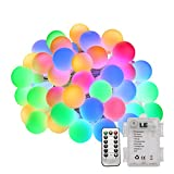 #8: LE 50 LEDs 16.4ft Multi-color Globe String Lights with Remote Control, Battery Powered, Waterproof 8 Modes Lighting Fairy Twinkle Light Bulb For Garden Patio Party Wedding Christmas Tree Décor
