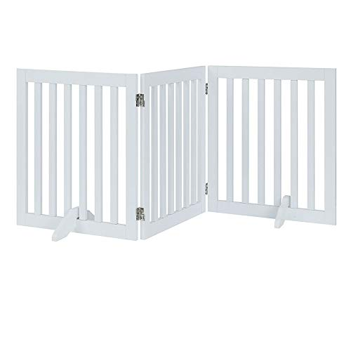 unipaws Freestanding Wooden Dog Gate, Foldable Pet Gate with 2Pcs Support Feet Dog Barrier Indoor Pet Gate Panels for Stairs, White (3 Panels, 20 inches Wide, 24 inches High) (Freestanding Kennel)