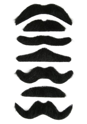 Funny Party Hats Fake Mustache - 12 Pack - Mustache Party Supplies - Self Adhesive Mustache - Fake Facial Hair