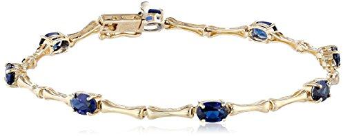 "10k Yellow Gold Created Blue Sapphire Bracelet, 7.5"""