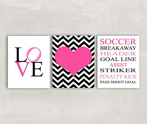 Soccer Wall Art for Girls Soccer Room Decor Set of 3 Prints - Soccer Rules Wall Art, Love Art, Chevron Heart Art - CHOOSE YOUR COLORS ((UNFRAMED))