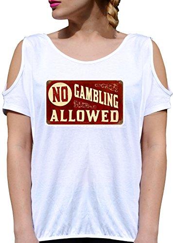 T SHIRT JODE GIRL GGG27 Z1252 NO GAMBLING ALLOWED VINTAGE AMERICA FUN FASHION COOL BIANCA - WHITE M