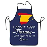 NigtafeColla I Don't Need Therapy - Just Go To Spain Chef Aprons,Popular Cozy Waist Adjustable Strap For Cooking, Painting,Art Aprons