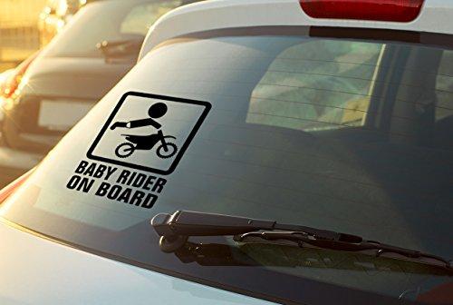 THE MIMI'S Baby In Car Baby On Board Baby Rider On Board Fun Car Vinyl Sticker Decal Vinyl Bumper Sticker- (Black)