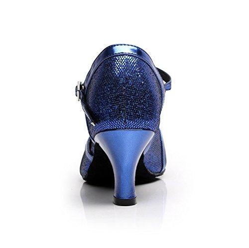 strap 6cm Tango Wedding Salsa T Blue Shoes Ballroom Glitter Latin Dance Minishion Pumps Heel Women's HEqCxwUB44
