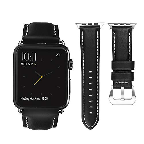 top4cus Genuine Leather iwatch Strap Replacement Band Stainless Metal Clasp, Compatible Apple Watch Series 4 Series 3 Series 2 Series 1 and Sport Edition(42 mm,Unique Black)