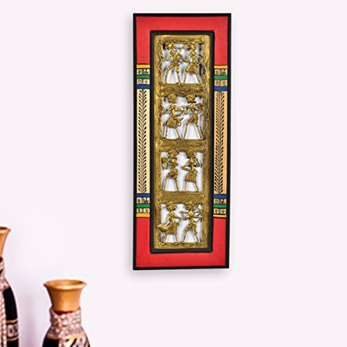 ExclusiveLane Dhokra Work & Warli Handpainted Vertical Wall Décor -Indian Decorative Items for Home Gift Item Wooden Wall Art Decor Decorative Shelves Vases Home Decor