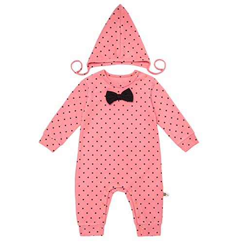 Teeker Unisex Baby Jumpsuit Cotton Onesies Romper Dot Printed Long Sleeve Baby Bodysuit with Cap Bow Decor