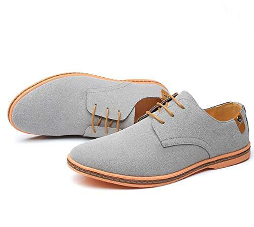 Special Shine-Shop Spring Suede Leather Men Shoes Oxford Casual Classic Footwear Big Size 38-46,Gray,39