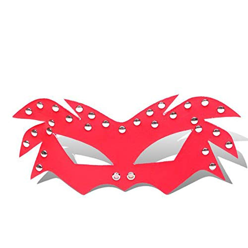 Sexy Adult Games Gay Leather Sexy Flirt Mask Halloween Mask Fetish BDSM Party Mask Erotic Toys for Couples (Red) ()